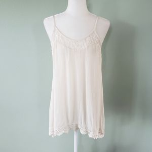 Mossimo cream lace embroidered tank top size XL